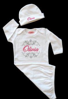 Posh White & Pink Custom Monogram Take Me Home Newborn Gown & Hat Set