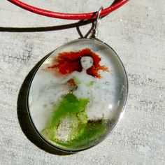Little mermaid necklace - fused glass pendant