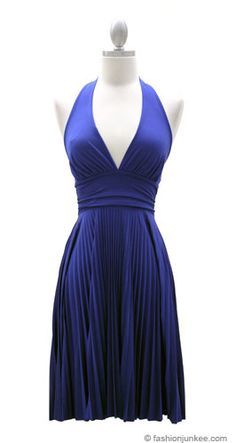 Marilyn Monroe Pleated Low Cut Halter Cocktail Dress-Blue