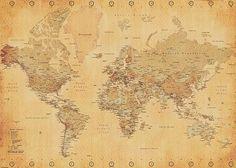 Weltkarte XXL Poster (World Map Vintage Style) - Poster Riesenformat: Amazon.de: Küche & Haushalt