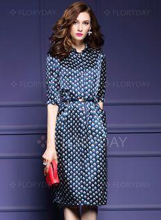 767071901 Dresses - $61.54 - Polyester Polka Dot Half Sleeve Mid-Calf Vintage Dresses  (1955105567