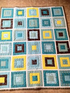 in desperate need of a quilt pattern for brian's room.  this one could work really well although I will swap yellow for green.