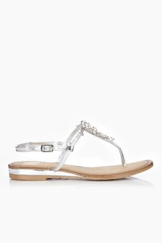 Silver Jewelled Leather Sandal $52