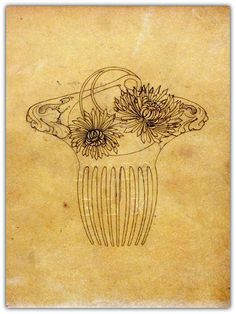 RENE LALIQUE ORIGINAL DRAWING FOR CHRYSANTHEMUM COMB. | From Primavera Gallery's collection of work by Rene Lalique.
