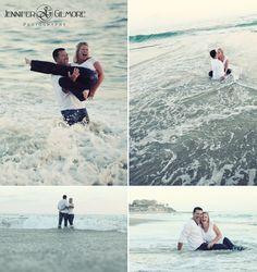 Laguna Beach, CA Victoria engagement photography idea, lighthouse, beach, ocean, rocks, water, soaked, wet, fun! Gilmore Studios