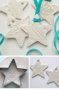 Embossed Clay Star Decorations | Click for 25 DIY White Christmas Decorations Ideas | White Christmas Decorating Ideas for the Home