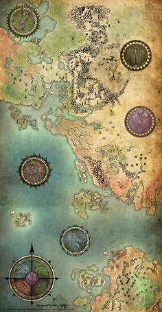 Guild Wars Antique Map by ~Jenosavel. Each of the gods has been given a seal on the map which roughly reflects its spheres of influence within the world. There are no names written on the map. Rather, towns are marked by the guild symbol, or closest representation thereof, of their controlling factions.