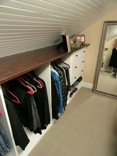 Attic closet storage with shelf. if you are converting your attic into a living space, include some closet space in your design. create your attic closet Loft Storage, Tiny House Storage, Storage Spaces, Storage Organization, Storage Room, Bedroom Organization, Diy Storage, Smart Storage, Storage Design