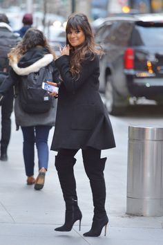 Lea Michele Out and About in New York on January 26, 2017.