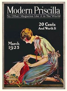 The lovely sewing themed cover of Modern Priscilla magazine, march 1925.