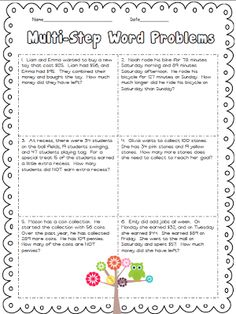 math worksheet : two step story problems addition and subtraction freebie  math  : Multiple Step Word Problems Worksheets