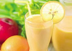 orange smoothie  Lemon-Orange Citrus Smoothie  Lemon and orange blend for a tropical Flat Belly smoothie diet drink    SERVINGS: 1 1 cup skim or soy milk 6oz (80-calorie) lemon yogurt 1 medium orange peeled, cleaned, and sliced into sections 1 Tbsp flaxseed oil (MUFA) Handful of ice Combine milk, yogurt, orange, and ice in a blender. Blend for 1 minute, transfer to a glass, and stir in flaxseed oil.