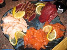 Sushi Valentine - From Point Loma Seafood Fish Market; fresh ahi tuna, chili pepper crusted ahi, fresh salmon, and smoked salmon.