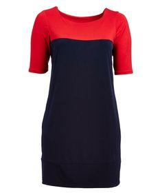 Red & Navy Colorblock Sheath Dress - Plus