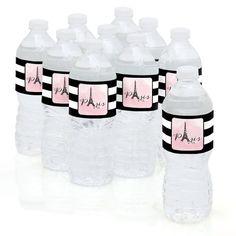 Paris, Ooh La La - Paris Themed Party Water Bottle Sticker Labels - Set of 10, Black