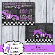 This racecar chalkboard birthday invitation is a perfect way to celebrate your little racer's birthday. The birthday invitation is personalized with your child's name and party details and can be created for any age. Cars Invitation, Invitation Design, Birthday Invitations, Chalkboard Invitation, Invite, Race Car Party, Race Cars, Nascar Party, First Birthday Party Themes