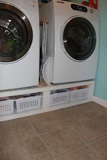 DIY laundry room pedestal. This would be so nice to have.