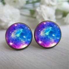 Galaxy Earring, Space Jewelry Galaxy Earings, Galaxy Stud Earrings,... ❤ liked on Polyvore featuring jewelry, earrings, accessories, aros, post earrings, glass jewelry, studded jewelry, cosmic jewelry and red earrings