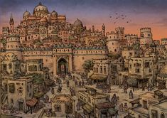 "Illustration of the medieval arabic city described in the novel ""The Kingdom of Peacocks: Mists of Time"" by Fadel AlMheiri. Fantasy City Map, Fantasy Castle, Fantasy Places, Medieval Fantasy, Fantasy Art Landscapes, Fantasy Landscape, Islamic City, Asgard, Minecraft Architecture"