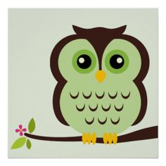 saying for a cartoon owl | Cartoon Owl Children's Wall Art Posters from Zazzle.com
