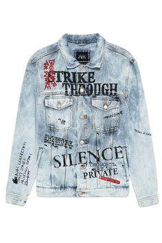 Zara Denim Jacket, Jaket Jeans, Shirt Jacket, Jean Jacket Design, Painted Clothes, Custom Clothes, Denim Paint, Shirt Style, Art Direction