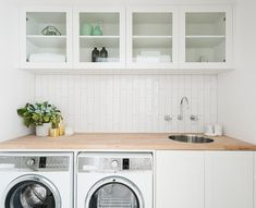 "Today we're getting ""messy"" in our modern farmhouse mudroom design! See how we're making the most of this space with laundry machines, sinks, storage, and a surprise! Small Laundry, Laundry In Bathroom, Laundry Rooms, Ikea Laundry, Beadboard Backsplash, Kitchen Backsplash, Backsplash Cheap, Backsplash Marble, Kitchen Cabinetry"