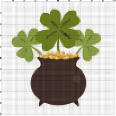 St Patrick's Day Needlepoint Made Simple-Even Your Kids Can Do It: Golden Clover Needlepoint Design Cross Stitch Embroidery, Cross Stitch Patterns, Crochet Patterns, Needlepoint Designs, Cross Stitch Heart, Pattern Ideas, Leprechaun, Plastic Canvas, St Patricks Day
