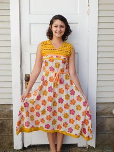 Cotton Gauze Embroidered Floral Dress With Handkerchief Skirt And Woven Belt XS Or Small