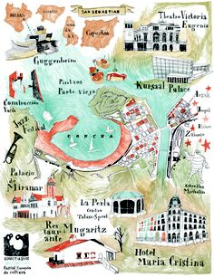 Camille Vannier - Map of San Sebastian Donostia. I would love to go back here for another visit! Bilbao San Sebastian, San Sebastian Spain, Maps Design, Illustration Française, Voyage Rome, Posters Vintage, Madrid, Basque Country, Spain And Portugal