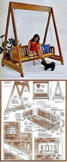 Porch Swing Plans - Outdoor Furniture Plans and Projects - Woodwork, Woodworking, Woodworking Plans, Woodworking Projects Outdoor Furniture Plans, Woodworking Furniture Plans, Woodworking Projects Diy, Woodworking Skills, Handmade Furniture, Diy Furniture, Easy Wood Projects, Project Ideas, Creation Deco