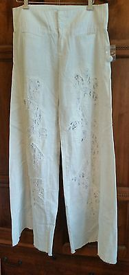 Free People Crochet Pieced Wideleg White pants Size 4 NEW