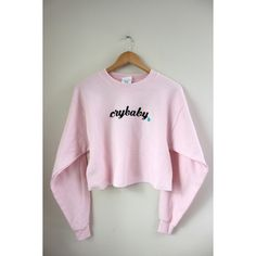 Crybaby Pastel Pink Cropped Graphic Crewneck Sweatshirt ($35) ❤ liked on Polyvore featuring tops, hoodies, sweatshirts, pastel crop top, graphic sweatshirts, graphic tops, crop top and crew neck top