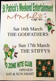 Patrick's Day entertainment at Mcmahons Cafe Bar and Dun a Rí house Hotel Kingscourt Co.
