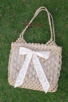 Bag,Macrame,Weaving ,Rope,Handmade,Ivory color, ,Handbag,Tote,Natural,Women's bag.Purse,Gift ,Shoulder bag,Beach bag