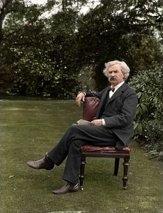 Mark Twain in the garden. (Colorized Photo).