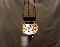Moroccan lantern mosaic hanging lamp glass chandelier light lampen candle m 029  #Handmade #Moroccan