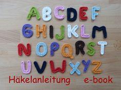 Häkelanleitung, e-book: Buchstaben-Applikationen