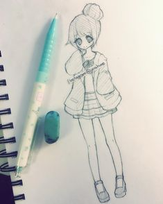 Anime Drawings Simple sketch for today I don't feel like doing anything else today. Hipster Drawings, Cute Easy Drawings, Art Drawings Sketches Simple, Love Drawings, Kawaii Drawings, Anime Chibi, Anime Pokemon, Anime W, Anime Art Girl