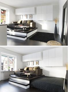 Wood sofa base with slide bed,special for those with small space!  homedit.com
