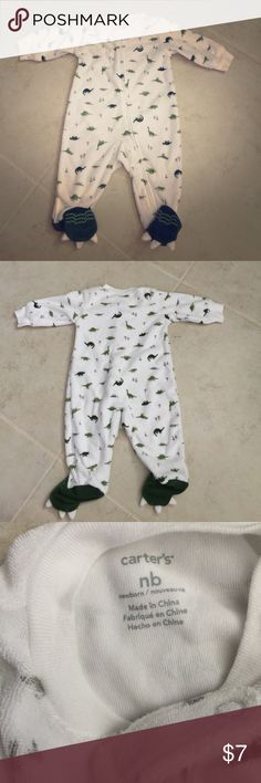 Carter's newborn one piece Awesome dinosaur pjs for newborns. Washed but never worn. Carter's One Pieces Footies