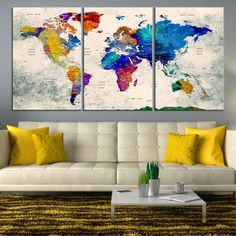 Art canvas print world map art on vintage background brown 3 48384 large wall art world map canvas print watercolor world map travel canvas print modern xxl large wall art world map canvas print gumiabroncs Image collections