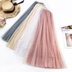 Big Discount Skirt Woman 2019 New Pattern Twinkle Five-pointed Star Fairy Skirt Self-cultivation Show Lanky Fund A Word Fish Tail solid Skirt Long Skirt Fashion, Fairy Skirt, Summer Skirts, Long Skirts, Pleated Skirts, Tulle Skirts, Diy Tulle Skirt, Dance Skirts, The Dress