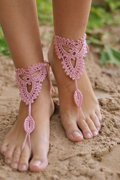 2014 Crochet Powder Pink Barefoot Wedding Sandals, Nude shoes Beach Wedding Sandals.