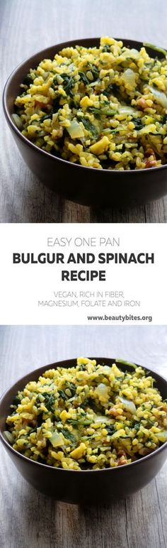 A delicious simple high-fiber recipe - bulgur with spinach. Vegan and rich in iron, can have it as a side or main
