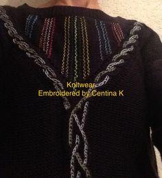 "Embroidery on knitwear by Centina K @CentLovesColour ""mijn werkstukken"" 07.12.2017."