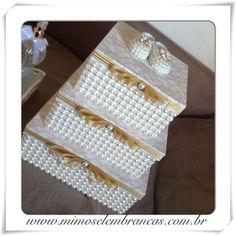 Trio de caixas com pérolas + sapatinho perolado