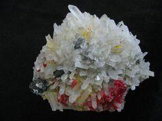 Realgar, Quartz, Sphalerite --- Palomo Mine, Julcani Dist., Huancavelica Dept, Peru