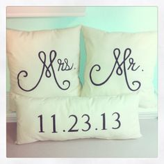 Mr.  Mrs. Pillows. This is kind of adorable.