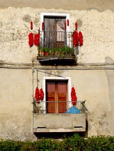 Drying Peppers, Altomonte, Calabria, Italy