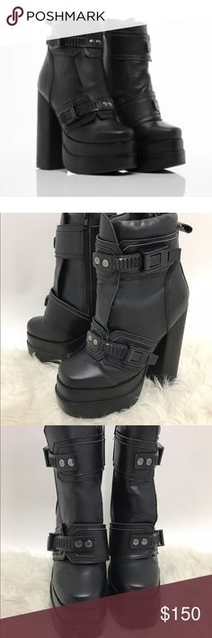 Jeffrey Campbell Diverse Boots Leather Black 7.5 SOLD OUT! Even on the main website! Very cool, rare, Jeffrey Campbell, Kiss Style Lace up/ buckle leather black platform booties.   Sz 7.5  These are stunning and so good looking.   Excellent Condition, with light wear.   True to Size. Jeffrey Campbell Shoes Heeled Boots